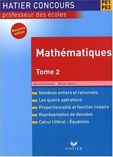 Mathématiques PE1 PE2 : Tome 2