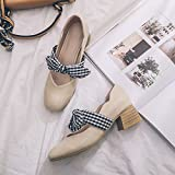 GAOLIM Spring Piazzale Singles scarpe da donna con la luce di scarpa da donna papillon singolo scarpe scarpe donna nera spessa al lavoro, Beige, 34