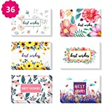 Morkka 46 Pack Kraftpapier Danke Karten Grußkarte Umschläge und Aufkleber für Hochzeit Graduation Men & Women Sympathie(Best Wishes )