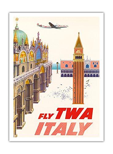 Pacifica Island Art - Italien - Piazza San Marco (Markus Plaza) - Trans World Airlines TWA - Retro Flugreise Plakat von David Klein c.1962 - Giclée Kunstdruck 30.5 x 41 cm