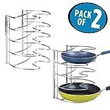 mDesign 2er-Set Pfannenhalter – stilvolle Küchenaufbewahrung für Pfannen – Gusseisen- und Bratpfannen Aufbewahrung – silberfarben