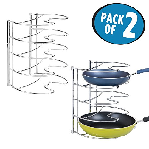 Mdesign 2er Set Pfannenhalter Stilvolle Kchenaufbewahrung Fr Pfannen Gusseisen Und Bratpfannen Aufbewahrung Silberfarben