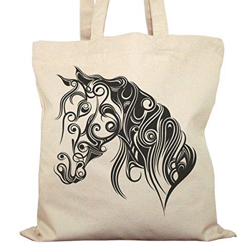 Tote Bag Imprimé Ecru - Toile en coton bio - Cheval stylisé