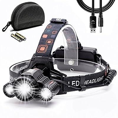 Stirnlampe, Cobiz Wiederaufladbare LED Stirnlampe , Wasserdichte LED Kopflampe mit flexibel Kopfband, 4 Lichtmodi zur Wahl, 10000 Lumen Superhell, 90 Grad verstellbarer Abstrahlwinkel für Laufen Camping Joggen Radfahren und Abenteuer