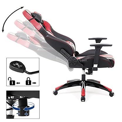 SONGMICS Gaming Silla–Silla de Oficina ergonómica con 3D reposabrazos, Almohada cojín Lumbar 66x 72x 124–132cm Negro de Color Rojo rcg33r