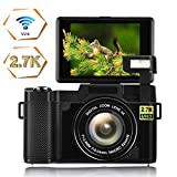 Camera WIFI Digital Camera 24.0 MP camcorder camera Video Camera 2.7K Ultra HD 3.0 Inch Vlogging Camera with Flip Screen Retractable Flashlight