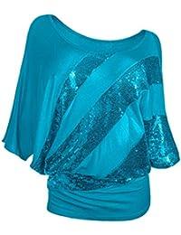 ALIKEEY Camiseta de Moda Casual con Lentejuelas Para Mujer Top Camiseta de Manga Corta con Cuello
