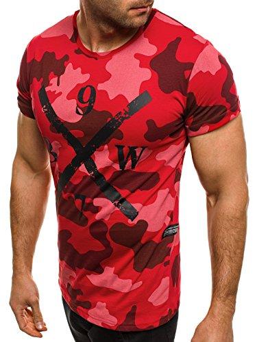 OZONEE Herren T-Shirt mit Motiv Kurzarm Rundhals Figurbetont Camouflage ATHLETIC 1065 Rot