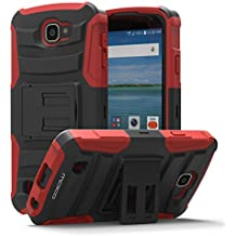 LG Optimus Zone 3 Funda - MoKo [Heavy Duty] Full Body Rugged Holster Cover with Swivel Belt Clip - Dual Layer Shock Resistant LG Optimus Zone 3 4.5 Inch 2016 Smartphone Funda, Rojo