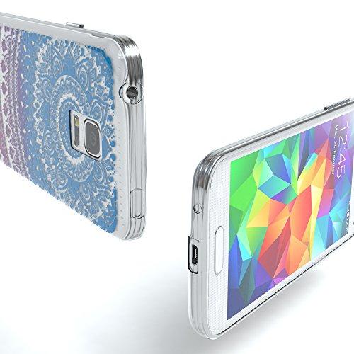 Samsung Galaxy S5 Mini Hülle - EAZY CASE Handyhülle - Ultra Slim Glitzer Schutzhülle aus Silikon in Gold Henna Blau / Pink