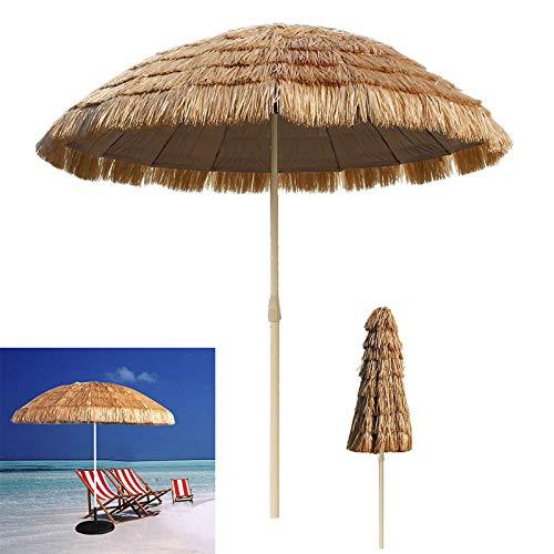 LZPQ 8,2ft Thatch Patio Tiki Regenschirm Tropischer Sonnenschirm Palapa Bast Tiki Hut Hawaiianer Hula Sonnenschirm Anti-UV