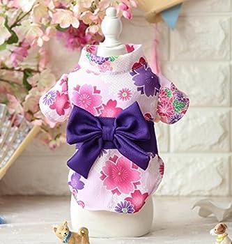 ZHJZ Vêtements pour Animaux de Compagnie Japonais Sakura Kimono Chat Chien Vêtements Rose M pour Chat Costume