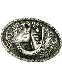 MagiDeal Boucle de Ceinture Western Animal Tête de Cheval Arabesque Ovale  Sculpté Mode 4ca59932dbe