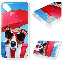 Wiko Sunset 2 Funda, BADALink Carcasa original para Wiko Sunset 2 Protective Case Cover (TPU Gel de Silicona Suave, ultrafina Slim Fit), diseño perro de las gafas de sol