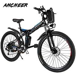 """Ancheer Vélo Electrique 26"""" e-Velo VTT Pliable 36V 250W Batterie au Lithium de Grande Capacité et le Chargeur Premium Suspendu et Shimano Engrenage"""
