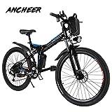 Ancheer Vélo Electrique 26' e-Velo VTT Pliable 36V 250W Batterie au Lithium de Grande Capacité et le Chargeur Premium Suspendu et Shimano Engrenage