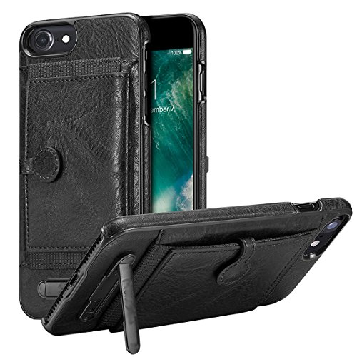 """xhorizon Vintage PU de haute qualité Portefeuille de Protection en Cuir Fermeture Magnétique Slot Carte de Crédit Support de Protection Housse Antichoc pour iPhone 6 Plus/ iPhone 6S Plus[5.5""""] Noir"""