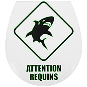 Promobo -Planche Stickers WC Deco Toilettes Phosphorescent Attention Requins