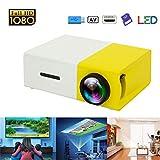 Prtorcz Mini-Projektor, tragbarer LED-Projektor, Smartphone-Taschenprojektor mit AV USB SD HDMI für Video/Film/Spiel/Heimkino-Videoprojektor (Gelb)