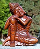 Super schöner ruhender 20 cm BUDDHA Meditation HOLZ BUDDA Feng Shui BMKNIEL20