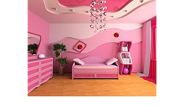 DZJYQ 6.5x5ft Gorgeous Romantic Pink Girl Princess Bedroom Chandelier Wood Floor Cabinet Mirror Daughter Children Birthday Party Wedding Portrait Backdrop Photography Background 420 2x1.5m