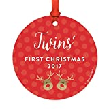 Round Metal Christmas Ornament, Boy Twins' First Christmas 2017, Reindeers, 1-Pack,Baby Shower Decorations