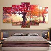 ZTTPCP 100x55cm HD Prints Wall Art 5 Pieces Seasons Autumn Trees Poster Modular Red Leaves Canvas Painting Home Decor Living Room