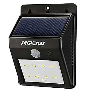 8 led eclairage exterieur imperm able mpow eclairage for Lampe solaire pour poteau de terrasse