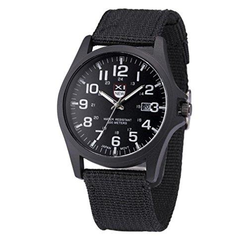 Hunpta Outdoor Herren Datum Edelstahl Militärsport Analog Quarz Armee-Armbanduhr (Schwarz)
