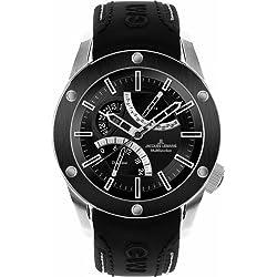 Jacques Lemans Liverpool GMT 1-1634A Men's GMT Black Leather Strap Watch