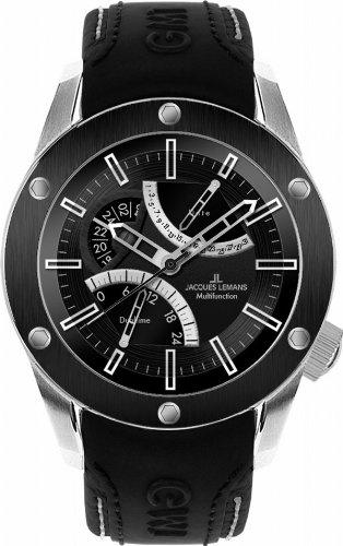 Jacques Lemans Sports Herren-Armbanduhr XL Liverpool GMT Analog Leder 1-1634A