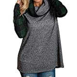 Kobay Felpa da Donna con Collo Alto Camicie Scozzese Felpa con Maniche Lunghe a Tunica(Verde,X-Large)