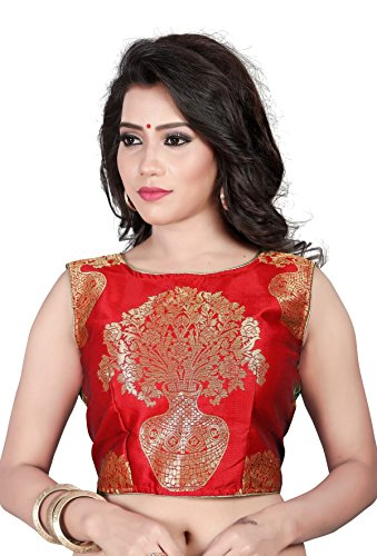 Womens Ethnic Red Jacquard Work Readymade Saree Blouse (KF_COLOR_Red)