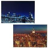Mendler 2X LED-Bild Leinwandbild Leuchtbild Wandbild 60x40cm, Timer ~ Skyline New York