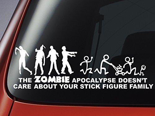 """Adesivo per finestrino auto, in vinile, con scritta in lingua inglese """"The Zombie Apocalypse Doesn't Care About Your Stick Figure Family"""""""