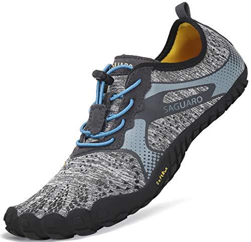 SAGUARO Barfussschuhe Herren mit Zehen Sohle Breathable Trail Laufschuhe Damen Weich Faltbar Fitnessschuhe Outdoor Sport Trekking Walking Schuhe Grau Gr.44 Herren-polyester-spandex
