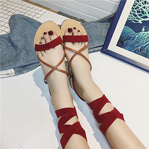 XY&GKFuß Ring Riemen Sandalen Cross Strap Sandals All-Match süße Wort Wohnungen, komfortabel und schön 35 red