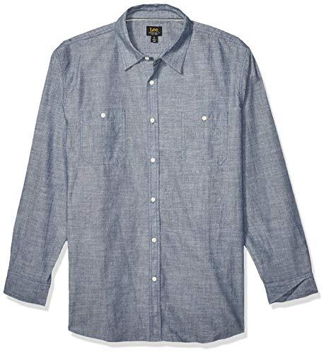 Lee Herren Shirt Long Sleeve Brady Dress Regular Big Tall Button Down Hemd, Jackson Indigo Blue, Klein -