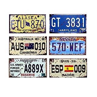 Easy Painter 6 Stück x 6 x 12 USA Auto Metall Nummernschild Vintage Home Decor Blech Schild Bar Pub Garage Deko Metallschild Metallschild (AUS, ESP, ETU)