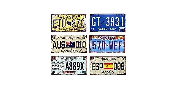 Easy Painter 6 St/ück x 6 x 12 USA Auto Metall Nummernschild Vintage Home Decor Blech Schild Bar Pub Garage Deko Metallschild Metallschild AUS, ESP, ETU