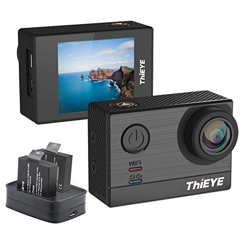 ThiEYE T5e 4k Wifi Action Cam (16MP, 5,08 cm (2,0 Zoll) Display, 2 Batterien, 60m Wasserdicht, 170° Weitwinkel) Schwarz