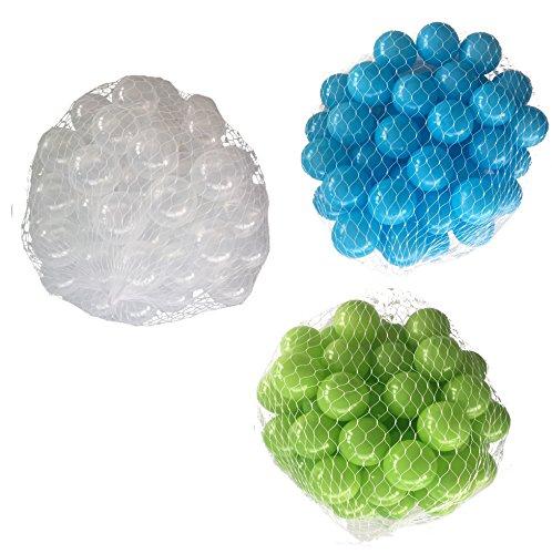 600 Bälle für Bällebad gemischt mix mit türkis, hellgrün und transparent