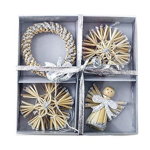 Weihnachts Dekor,Wawer Stroh Engel Kranz Anhänger Weihnachtsbaum Ornamente Dekoration Geschenke (Silber)
