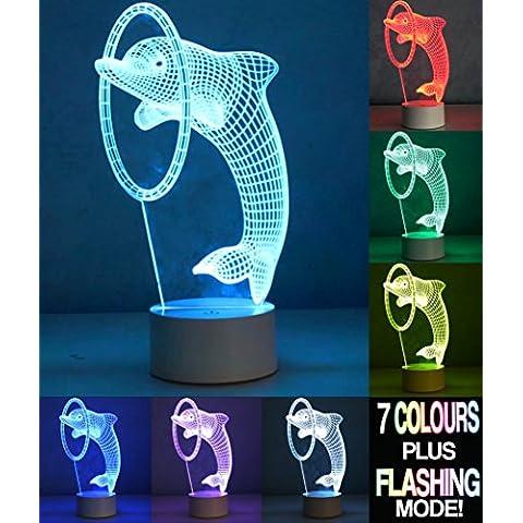 Optical Illusion 3d Dolphin Lamp–Delfín lámpara