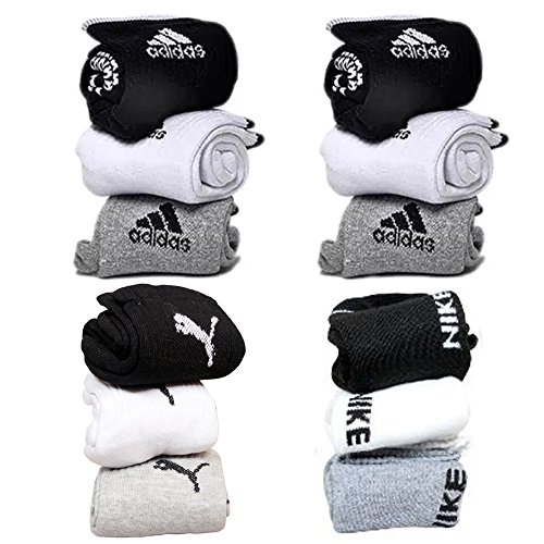 combo pack of puma, adidas and nike socks set of 12 pairs puma logo sports ankel length cotton towel socks