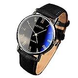 Reloj de pulsera analógico de cuarzo con números romanos, de Yazole Mens, correa de piel...