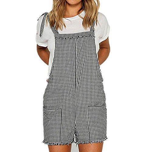 famesale Frauen Overall Denim Overalls Baumwolle Overalls Straps Jumpsuit Shorts Taschen Casual (Power Stretch Bib)