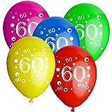 Luftballons Latexballons mit Motiv 60 Jahre Alter Geburtstag - zur befüllung mit Helium und Luft geeignet - Europäisch