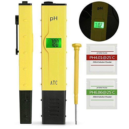 GantPower Digitales pH Messgerät mit LCD-Display, 0,01 Auflösung , tragbarer Tester/Messer für Aquarium, pH Tester für Urin, pH Wert Meter für Pools, Monitor für Aquarium und Pool Wasser, Gelb