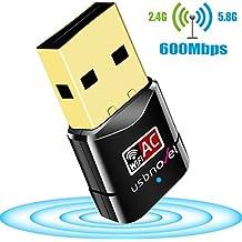 Adaptador USB Wifi, USBNOVEL AC600 Dual Banda Adaptador USB inalámbrico 2.4GHz 150Mbps o 5Ghz 433Mbps compatible con Windows XP/ 7 / 8 / 8.1 / 10 / VISTA / Mac OS X 10.4-10.12.1